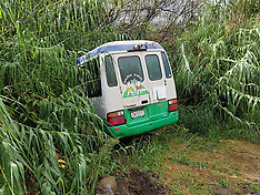 Auckland-School bus rolls off road near Ahuroa School