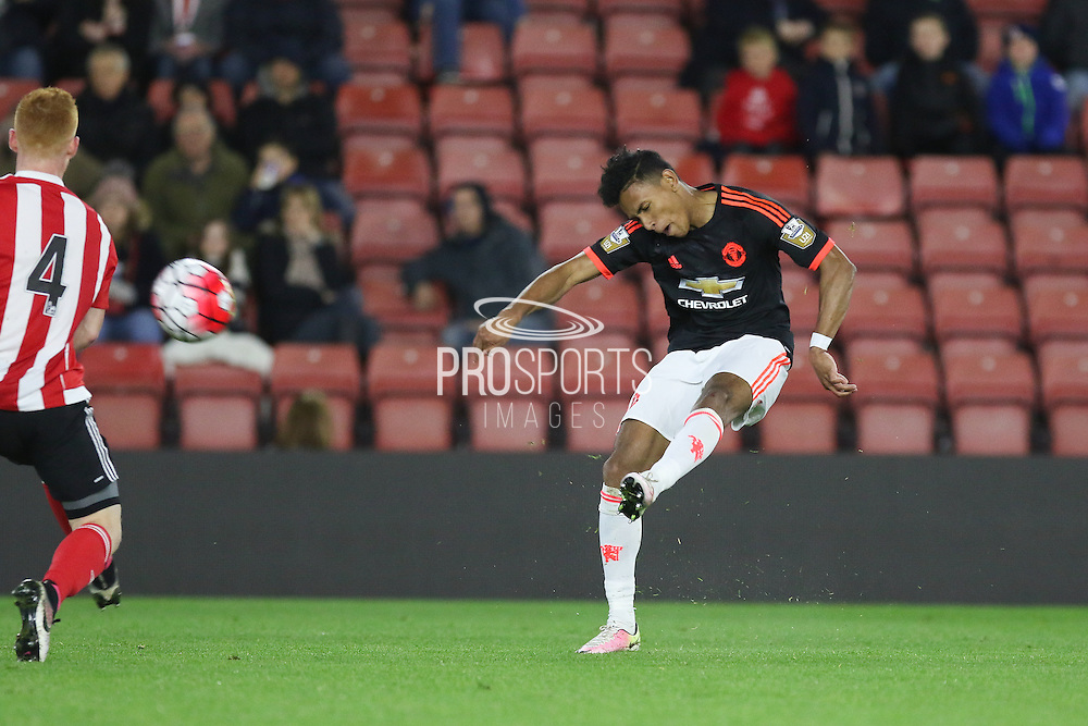 Manchester United U21 Demetri Mitchell shoots at goal during the Barclays U21 Premier League match between U21 Southampton and U21 Manchester United at the St Mary's Stadium, Southampton, England on 25 April 2016. Photo by Phil Duncan.