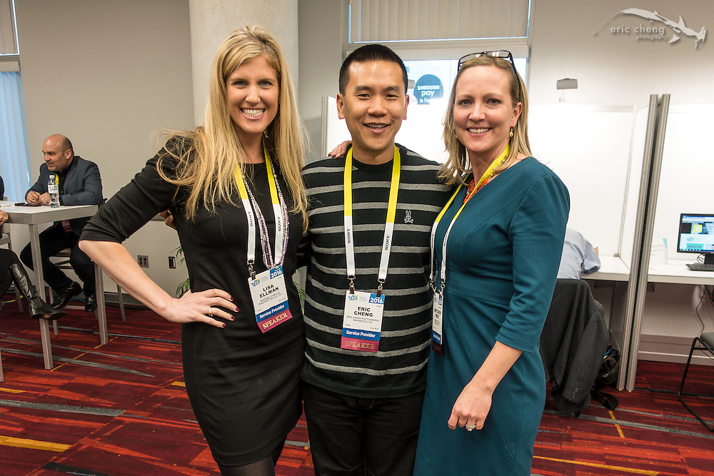 Eric Cheng with Lisa Ellman and Gretchen West of Hogan Lovells. CES 2016, Las Vegas.