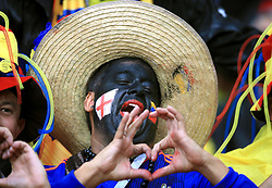 A Colombia fan with his face painted ahead of the FIFA World Cup 2018, round of 16 match at the Spartak Stadium, Moscow.
