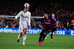 February 6, 2019 - Barcelona, BARCELONA, Spain - 05 Varane of Real Madrid defended by 14 Malcom of FC Barcelona during the semi-final first leg of Spanish King Cup / Copa del Rey football match between FC Barcelona and Real Madrid on 04 of February of 2019 at Camp Nou stadium in Barcelona, Spain (Credit Image: © AFP7 via ZUMA Wire)