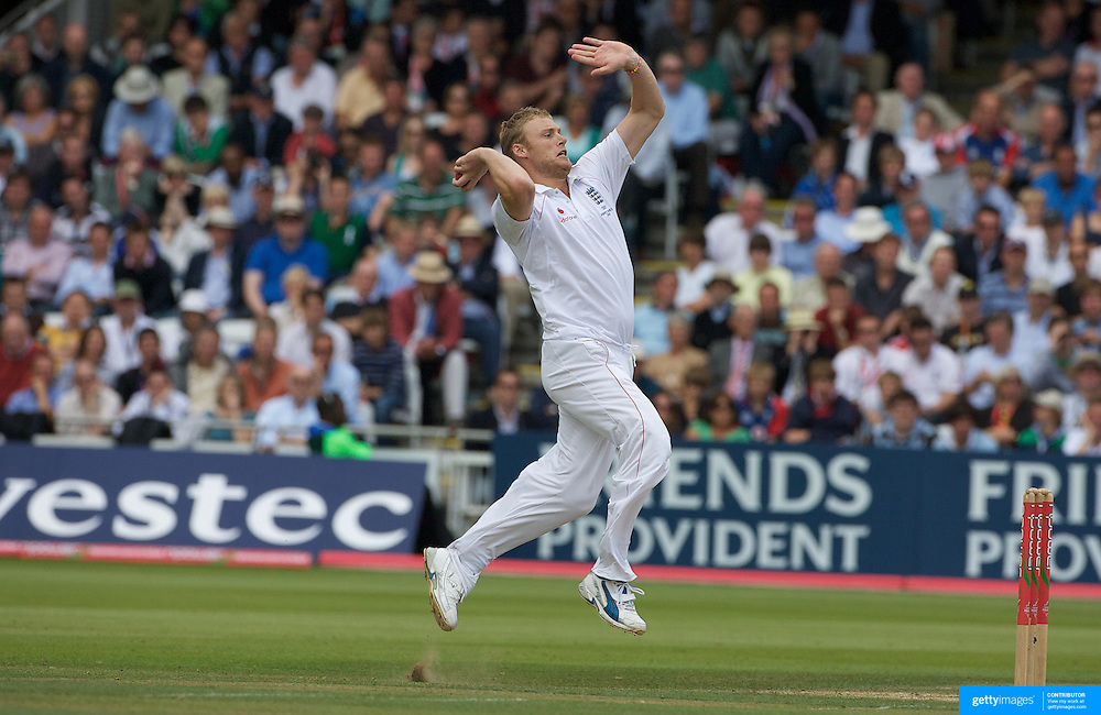 Andrew Flintoff bowling during the England V Australia  Ashes Test series at Lords, London, on Sunday, July 19, 2009. Photo Tim Clayton.