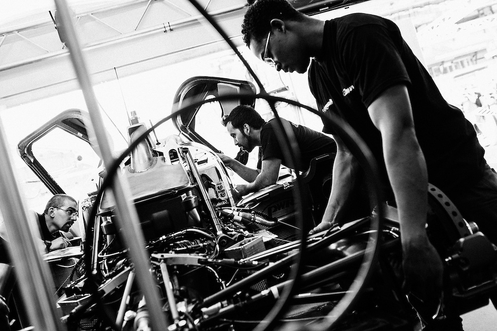 The Nissan G-Drive OAK racing car (Number 35) is worked on by mechanics ahead of the Le Mans 24 2014. Le Mans, France, 13th June 2014. Photo by Greg Funnell.