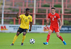 WREXHAM, WALES - Friday, September 6, 2019: Belgium's Francis Amuzu (L) and Wales' Cameron Coxe during the UEFA Under-21 Championship Italy 2019 Qualifying Group 9 match between Wales and Belgium at the Racecourse Ground. (Pic by Laura Malkin/Propaganda)