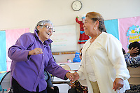 Eva Turner, left, and Esperanza Grant dance it up during the Senior's Easter Party at the Firehouse Recreation Center on Wednesday in Salinas.