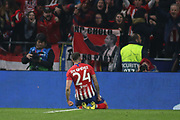 Jose Maria Gimenez of Atletico de Madrid celebrates a goal during the UEFA Champions League, round of 16, 1st leg football match between Atletico de Madrid and Juventus on February 20, 2019 at Wanda metropolitano stadium in Madrid, Spain - Photo Oscar J Barroso / Spain ProSportsImages / DPPI / ProSportsImages / DPPI