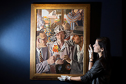 © licensed to London News Pictures. London, UK 07/05/2013. Travellers by Herbert Badham being revealed by Bonhams in London as an Australian art collection owned by Neighbours producer Reg Grundy goes to auction. The painting is estimated to be sold for £130,000-200,000 and the collection is estimated to fetch up to £13million in total. Auction takes place on June 26 in Sydney. Photo credit: Tolga Akmen/LNP