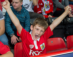 Bristol City fan cheers - Photo mandatory by-line: Dougie Allward/JMP - Mobile: 07966 386802 - 27/09/2014 - SPORT - Football - Bristol - Ashton Gate - Bristol City v MK Dons - Sky Bet League One