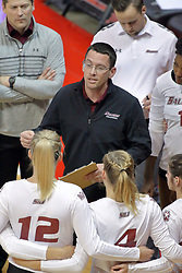 17 October 2015:  Saluki Head Coach Justin Ingram speaks to his team at a time out during an NCAA women's volleyball match between the Southern Illinois Salukis and the Illinois State Redbirds at Redbird Arena in Normal IL (Photo by Alan Look)