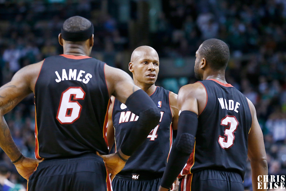 27 January 2013: Miami Heat shooting guard Ray Allen (34) talks to Miami Heat shooting guard Dwyane Wade (3) and Miami Heat small forward LeBron James (6) during the Boston Celtics 100-98  2OT victory over the Miami Heat at the TD Garden, Boston, Massachusetts, USA.