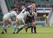 Twickenham, United Kingdom. Oxfrods Abi WILLETT, suported by Elmarie van HEERDEN and confronted by, No. 5, Nikki WECKMAN and Laura NUNEZ-MULDER, during in the 2015 Women's Varsity Match, Oxford vs Cambridge, RFU Twickenham Stadium, England.<br /> <br /> Thursday  10/12/2015<br /> <br /> [Mandatory Credit. Peter SPURRIER/Intersport Images].