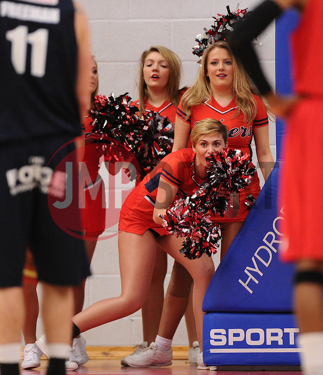 Cheer leaders try to distract a free throw  - Photo mandatory by-line: Joe Meredith/JMP - Mobile: 07966 386802 - 11/04/2015 - SPORT - Basketball - Bristol - SGS Wise Campus - Bristol Flyers v Glasgow Rocks - British Basketball League