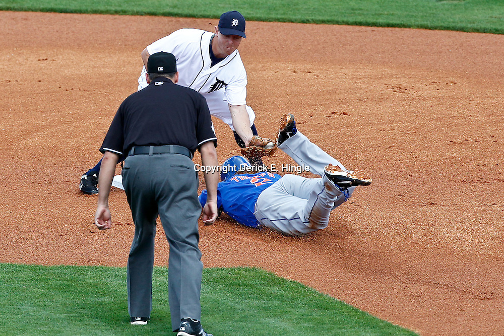 March 14, 2012; Lakeland, FL, USA; Detroit Tigers third baseman Brandon Inge (15) tags outNew York Mets second baseman Justin Turner (2) during the to of the first inning of a spring training game at Joker Marchant Stadium. Mandatory Credit: Derick E. Hingle-US PRESSWIRE