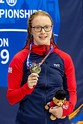 Brock Whiston of Great Britain with the Gold Medal won in the Women's 100 m Breaststroke SB8  during the World Para Swimming Championships 2019 Day 7 held at London Aquatics Centre, London, United Kingdom on 15 September 2019.