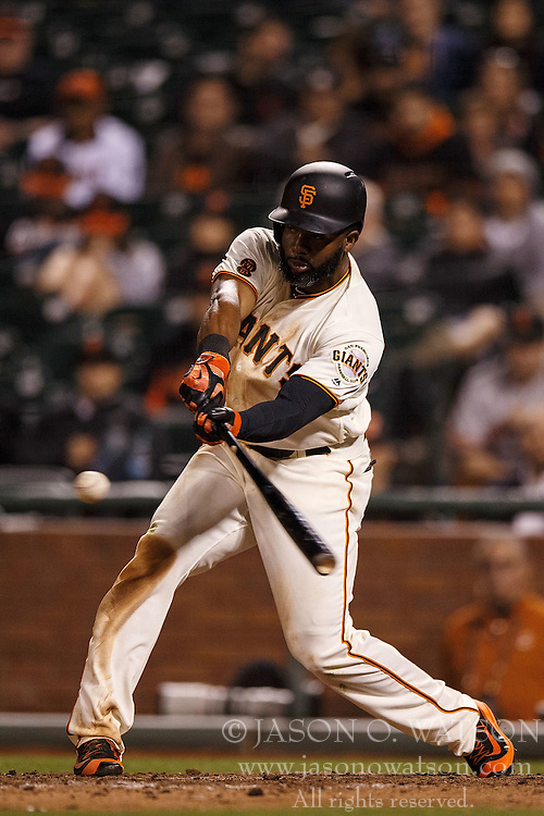 SAN FRANCISCO, CA - APRIL 18: Denard Span #2 of the San Francisco Giants at bat against the Arizona Diamondbacks during the eighth inning at AT&T Park on April 18, 2016 in San Francisco, California. The Arizona Diamondbacks defeated the San Francisco Giants 9-7 in 11 innings.  (Photo by Jason O. Watson/Getty Images) *** Local Caption *** Denard Span