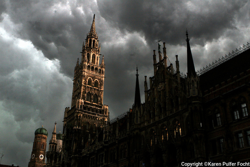 A storm brews over the Marienplatz, Munich, Germany.