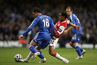 Photo: Rich Eaton.<br /> <br /> Chelsea v Arsenal. Carling Cup Final. 25/02/2007. Wayne Bridge left of Chelsea and Arsenals Theo Walcott go for the ball