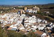 Pueblos blancos high density whitewashed buildings at Setenil de las Bodegas, Cadiz province, Spain