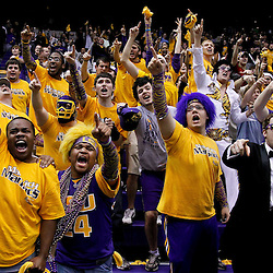 February 14, 2012; Baton Rouge, LA; LSU Tigers fans celebrate in the stands following an overtime win over the Mississippi State Bulldogs in a game at the Pete Maravich Assembly Center. LSU defeated Mississippi State in overtime 69-67. Mandatory Credit: Derick E. Hingle-US PRESSWIRE