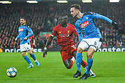 Napoli midfielder Fabian (8) and Liverpool forward Sadio Mane (10) in action during the Champions League match between Liverpool and Napoli at Anfield, Liverpool, England on 27 November 2019.