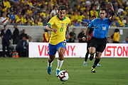 Brazil midfielder Phillippe Coutinho (11) during an international friendly soccer match against Peru, Tuesday, Sept. 10, 2019, in Los Angeles. Peru defeated Brazil 1-0.
