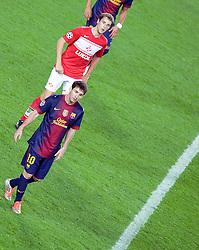 Lionel Messi tries to find some space during the Group G UEFA Champions League match between FC Barcelona and Spartak Moscow at the Nou Camp, Barcelona, Spain 19th September 2012. Credit - Eoin Mundow/Cleva Media.