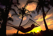 Hammock, Sunset, Hawaii, USA<br />