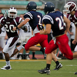 20 August 2009:  The St. Thomas Falcons scrimmage at Strawberry Field in Hammond, Louisiana.