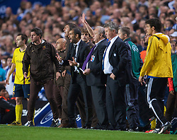 LONDON, ENGLAND - Wednesday, May 6, 2009: Barcelona's head coach Pep Guardiola tries to make a substitution during the UEFA Champions League Semi-Final 2nd Leg match against Chelsea at Stamford Bridge. (Photo by David Rawcliffe/Propaganda)
