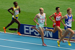 Mustafa Mohamed of Sweden, Bostjan Buc of Slovenia, Eliseo Martin of Spain and Janne Ukonmaanaho of Finland  compete in the Mens 3000m Steeplechase Heat during day four of the 20th European Athletics Championships at the Olympic Stadium on July 30, 2010 in Barcelona, Spain.  (Photo by Vid Ponikvar / Sportida)