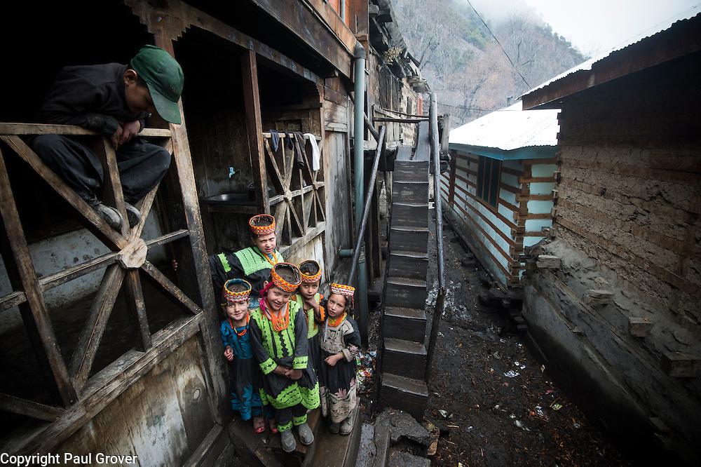 Bumburet, Chitral District,Pakistan.Pic Shows Kalash kids in the Kalash village in the valley of Bumburet