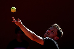 May 4, 2019 - Estoril, Portugal - David Goffin of Belgium serves a ball to Stefanos Tsitsipas of Greece during the Millennium Estoril Open semifinal ATP 250 tennis tournament at the Clube de Tenis do Estoril in Estoril, Portugal on May 4, 2019. (Stefanos Tsitsipas won 2-1) (Credit Image: © Pedro Fiuza/NurPhoto via ZUMA Press)