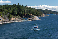 The Yacht 'Retreat' entering Long Harbour on Salt Spring Island, British Columbia, Canada.