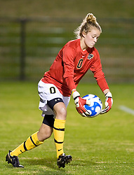 Army goalkeeper Alex Lostetter (0) in action against UVA.  The #16 ranked Virginia Cavaliers defeated the Army Black Knights 2-0 in the first round of NCAA Division 1 Women's Soccer Tournament at Klockner Stadium on the Grounds of the University of Virginia in Charlottesville, VA on November 14, 2008.