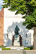 Paul Gerhardt memorial in front of the church in Lubben, Spreewald, Germany