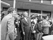 15/05/1982<br /> 05/15/1982<br /> 15 May 1982<br /> An Taoiseach, Mr Charles Haughey, canvasing with Fianna Fail bye-election candidate Eileen Lemass in Dublin West. Image shows An Taoiseach (centre) canvasing alongside Eileen Lemass.