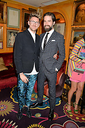 Left to right, HENRY HOLLAND and JACK GUINNESS at an exclusive dinner for Iris Apfel held at Annabel's, Berkeley Square, London on 29th July 2015.