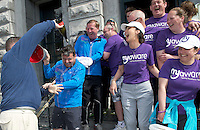 "The cast and crew who after walking 108 miles from Donegal to Galway for Ronnie Whelan's ""Myaware.ie Annual Walk"" in aid of Myasthenia, arrived to Hotel Meyrick in Galway city centre where Love/Hate's Elmo Laurence Kinlan got drenched by Paul Brennan with a bottle of bubbly. Photo:Andrew Downes"