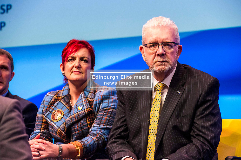 Pictured: Angela Constance, Cabinet Secretary for Communities, Social Security and Equalities, and Mike Russell, Scottish Brexit Minister <br /> The members of the SNP gathered in the Scottish Events Centre in Glasgow for their annual conference.<br /> Ger Harley | EEm 10 October 2017