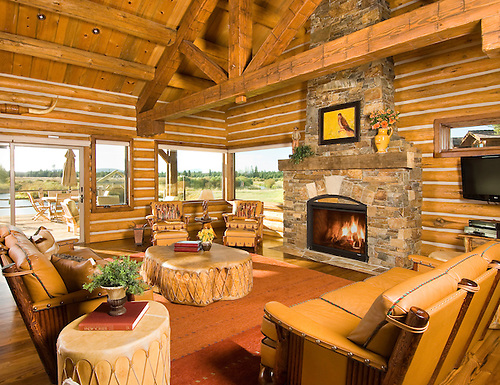 Natural Log Cabin Architecture With Cozy Fireplace And Outside Scenic View