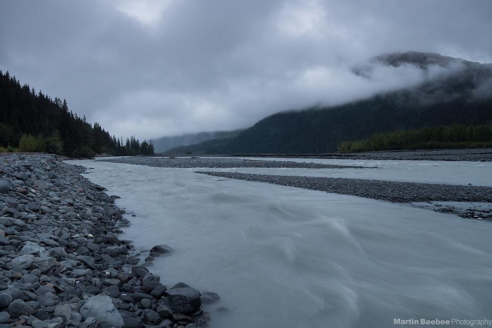 Foggy morning on the Resurrection River, Chugach National Forest, Alaska