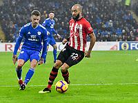 Football - 2018 / 2019 Premier League - Cardiff City vs. Southampton<br /> <br /> Nathan Redmond Southampton challenged by Joe Bennett Cardiff City, at Cardiff City Stadium.<br /> <br /> COLORSPORT/WINSTON BYNORTH