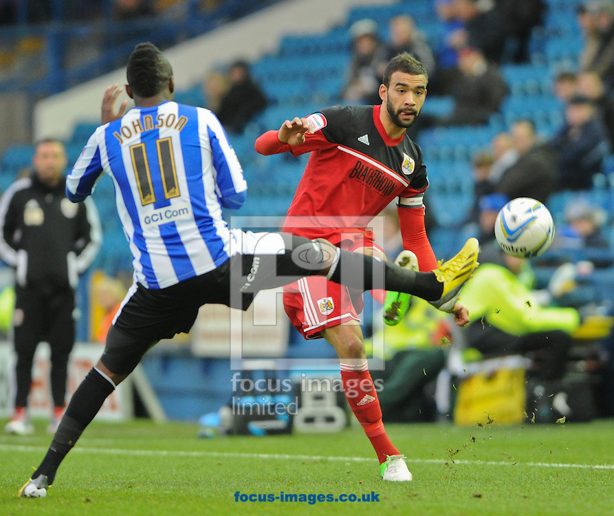 Picture by Richard Land/Focus Images Ltd +44 7713 507003.08/12/2012.Jermain Johnson of Sheffield Wednesday and Liam Fontaine of Bristol City during the npower Championship match at Hillsborough, Sheffield.