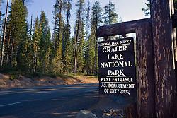 National Park Service entrance sign to the western entrance of Crater Lake National Park, Oregon