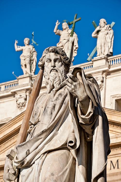 A sculpture of St. Paul outside St. Peter's Basilica. (Sam Lucero photo)