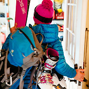 Martha Hunt heading out for a spring backcountry ski day in Whitefish, Montana.