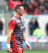 Scarlets' Aaron Shingler during the pre match warm up<br /> <br /> Photographer Simon King/Replay Images<br /> <br /> Guinness PRO14 Round 19 - Scarlets v Glasgow Warriors - Saturday 7th April 2018 - Parc Y Scarlets - Llanelli<br /> <br /> World Copyright &copy; Replay Images . All rights reserved. info@replayimages.co.uk - http://replayimages.co.uk