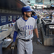 NEW YORK, NEW YORK - June 30: Kris Bryant #17 of the Chicago Cubs in the dugout preparing to bat during the Chicago Cubs Vs New York Mets regular season MLB game at Citi Field on June 30, 2016 in New York City. (Photo by Tim Clayton/Corbis via Getty Images)