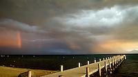 Lightning, Rainbow Sunset<br /> Lake Tahoe, California