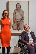Ann Bates O.B.E.(in wheelchair), by Emma Hopkins, both pictured - The Royal Society of Portrait Painters Annual Exhibition at the Mall Galleries. It includes over 200 portraits by over 100 artists.